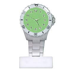 Friendly Houndstooth Pattern,green Plastic Nurses Watch