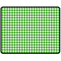 Friendly Houndstooth Pattern,green Double Sided Fleece Blanket (medium)