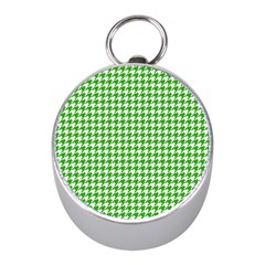 Friendly Houndstooth Pattern,green Mini Silver Compasses