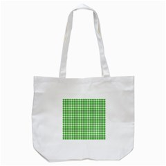 Friendly Houndstooth Pattern,green Tote Bag (white)