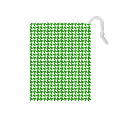 Friendly Houndstooth Pattern,green Drawstring Pouches (medium)