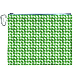 Friendly Houndstooth Pattern,green Canvas Cosmetic Bag (xxxl)