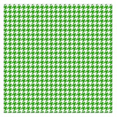 Friendly Houndstooth Pattern,green Large Satin Scarf (square)