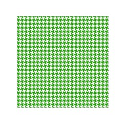 Friendly Houndstooth Pattern,green Small Satin Scarf (square)