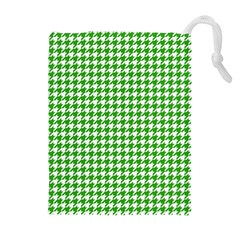 Friendly Houndstooth Pattern,green Drawstring Pouches (extra Large)