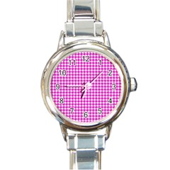 Friendly Houndstooth Pattern,pink Round Italian Charm Watch