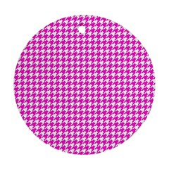 Friendly Houndstooth Pattern,pink Ornament (round)