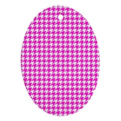 Friendly Houndstooth Pattern,pink Ornament (oval)
