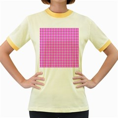 Friendly Houndstooth Pattern,pink Women s Fitted Ringer T Shirts