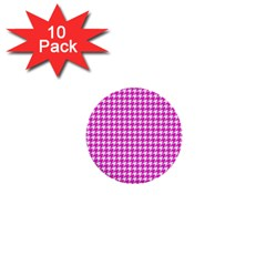 Friendly Houndstooth Pattern,pink 1  Mini Buttons (10 Pack)