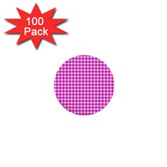 Friendly Houndstooth Pattern,pink 1  Mini Buttons (100 Pack)