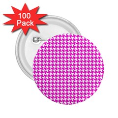 Friendly Houndstooth Pattern,pink 2 25  Buttons (100 Pack)