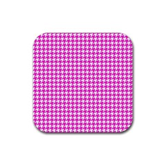 Friendly Houndstooth Pattern,pink Rubber Square Coaster (4 Pack)