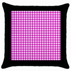 Friendly Houndstooth Pattern,pink Throw Pillow Case (black)