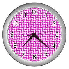 Friendly Houndstooth Pattern,pink Wall Clocks (silver)