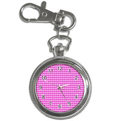 Friendly Houndstooth Pattern,pink Key Chain Watches