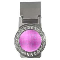 Friendly Houndstooth Pattern,pink Money Clips (cz)