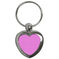 Friendly Houndstooth Pattern,pink Key Chains (heart)