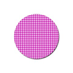 Friendly Houndstooth Pattern,pink Rubber Coaster (round)