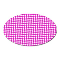Friendly Houndstooth Pattern,pink Oval Magnet