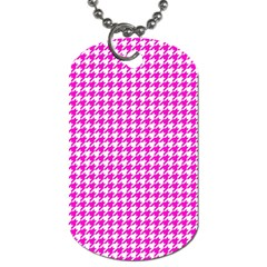 Friendly Houndstooth Pattern,pink Dog Tag (one Side)