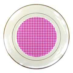 Friendly Houndstooth Pattern,pink Porcelain Plates