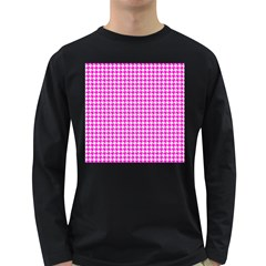 Friendly Houndstooth Pattern,pink Long Sleeve Dark T Shirts