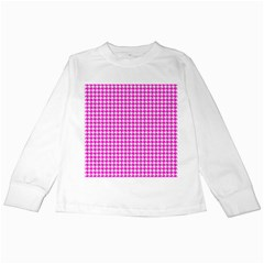 Friendly Houndstooth Pattern,pink Kids Long Sleeve T Shirts