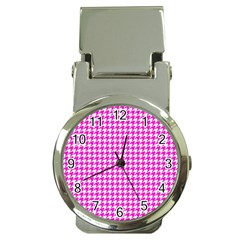 Friendly Houndstooth Pattern,pink Money Clip Watches