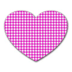 Friendly Houndstooth Pattern,pink Heart Mousepads