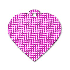 Friendly Houndstooth Pattern,pink Dog Tag Heart (one Side)