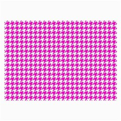 Friendly Houndstooth Pattern,pink Large Glasses Cloth (2 Side)