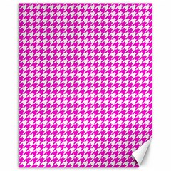Friendly Houndstooth Pattern,pink Canvas 11  X 14