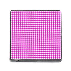 Friendly Houndstooth Pattern,pink Memory Card Reader (square)