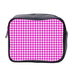 Friendly Houndstooth Pattern,pink Mini Toiletries Bag 2 Side