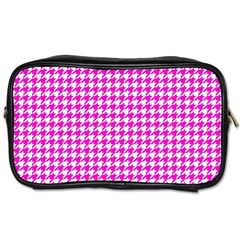 Friendly Houndstooth Pattern,pink Toiletries Bags 2 Side