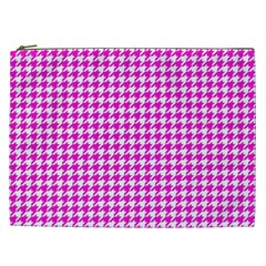 Friendly Houndstooth Pattern,pink Cosmetic Bag (xxl)