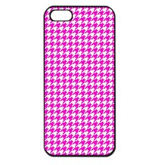 Friendly Houndstooth Pattern,pink Apple Iphone 5 Seamless Case (black)
