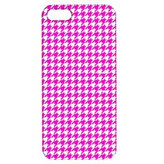 Friendly Houndstooth Pattern,pink Apple Iphone 5 Hardshell Case With Stand