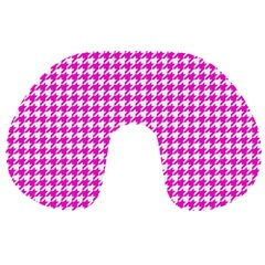 Friendly Houndstooth Pattern,pink Travel Neck Pillows