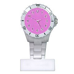 Friendly Houndstooth Pattern,pink Plastic Nurses Watch