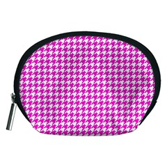 Friendly Houndstooth Pattern,pink Accessory Pouches (medium)