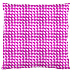 Friendly Houndstooth Pattern,pink Large Flano Cushion Case (one Side)