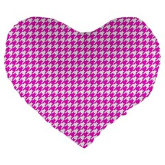 Friendly Houndstooth Pattern,pink Large 19  Premium Flano Heart Shape Cushions