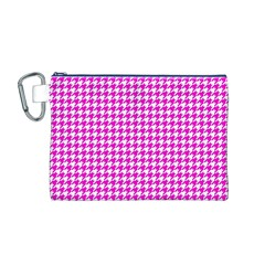 Friendly Houndstooth Pattern,pink Canvas Cosmetic Bag (m)