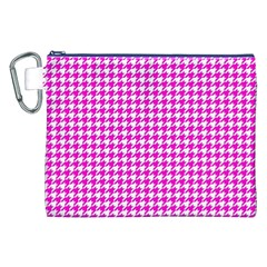 Friendly Houndstooth Pattern,pink Canvas Cosmetic Bag (xxl)