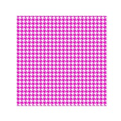 Friendly Houndstooth Pattern,pink Small Satin Scarf (square)