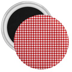 Friendly Houndstooth Pattern,red 3  Magnets
