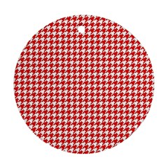 Friendly Houndstooth Pattern,red Ornament (round)