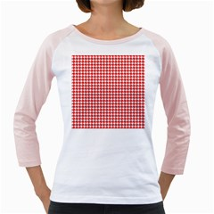 Friendly Houndstooth Pattern,red Girly Raglans